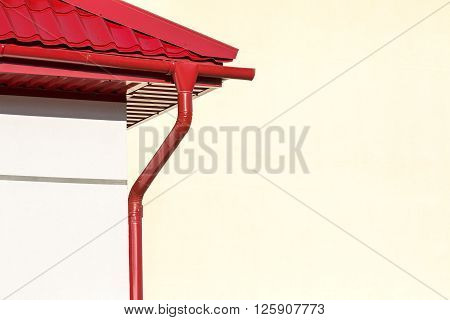 Red Roof With Rain Gutter