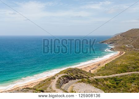 View from hilltop on St Kitts overlooking the Atlantic Ocean and Caribbean