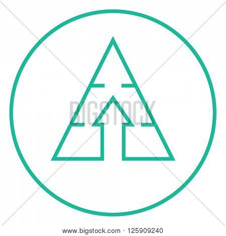 Pyramid with arrow up line icon.