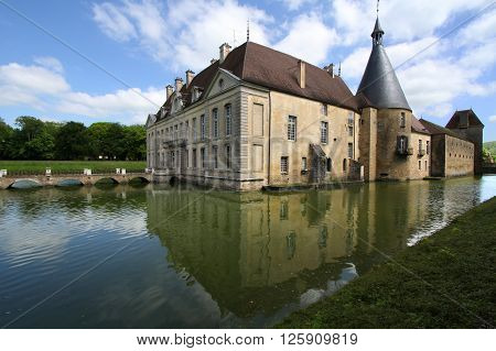 Commarin, France, June 2, 2013 : Reflections Of Commarin Castle In Burgundy