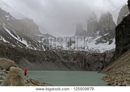 Paine, Chile, December 29, 2013 : Three Towers Of Torres Del Paine Over The Lake