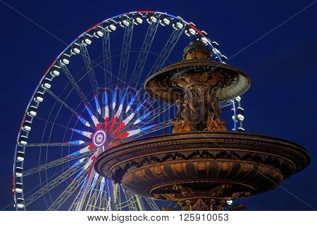 Paris, France, January 26, 2016 : Place De La Concorde At The Blue Hour. It Is The Largest Square In