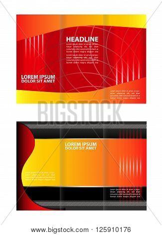Tri-fold brochure template design. Tri Fold Corporate Brochure vector illustration