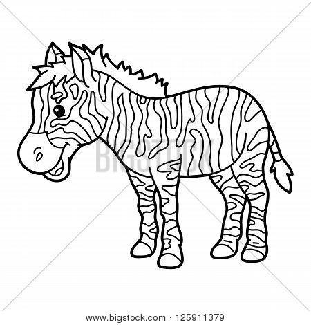Cute educational kids coloring page. Vector illustration of educational coloring page with cute cartoon zebra character for children, coloring and scrap book