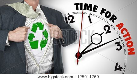 Businessman Showing Superhero Suit With Recycling Symbol