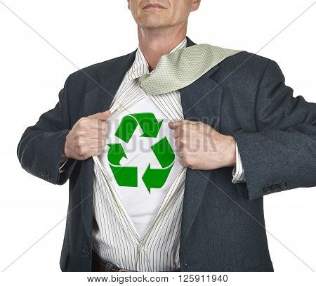 Businessman Showing Recycling Symbol Superhero Suit Underneath His Shirt