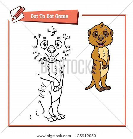 dot to dot meerkat educational kid game. Vector illustration of dot to dot kid puzzle with happy cartoon meerkat for children