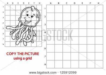 jellyfish educational grid game. Vector illustration of grid copy educational puzzle game with happy cartoon jellyfish for children