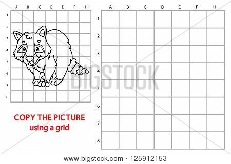 raccoon educational grid game. Vector illustration of grid copy educational puzzle game with happy cartoon raccoon for children