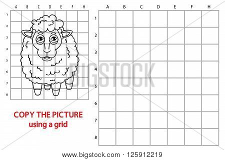 sheep educational grid game. Vector illustration of grid copy puzzle with happy cartoon sheep for children