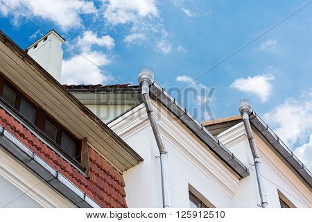 Drainpipes On The Roof Of Building