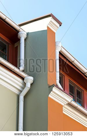 Rain Gutters And Drainpipes On Old Home