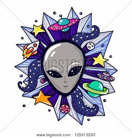 Gray alien head and space elements. Cute colored illustration about space travel.
