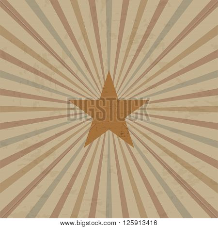 Vintage design template with frame and sunbeams with star
