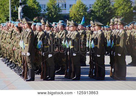 Vitebsk, Belarus - August 2, 2015: Belarus army soldiers during the celebration of the Paratroopers VDV Day on August 2, 2015 in Vitebsk