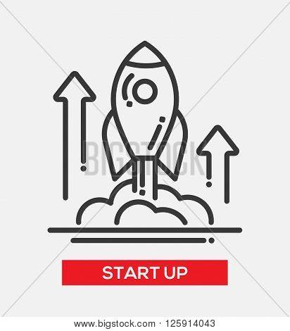Business start up single isolated modern vector line design icon. A rocket liftoff with arrows up