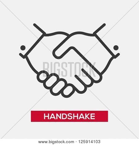 Business handshake partnership single isolated modern vector line design icon