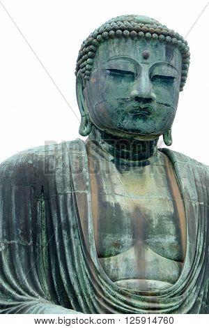 The Great Buddha of Kamakura isolated on white background