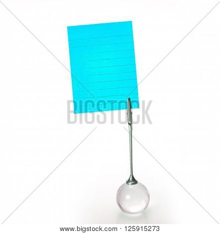 The Silver Business Card Holder with blue paper note on white background