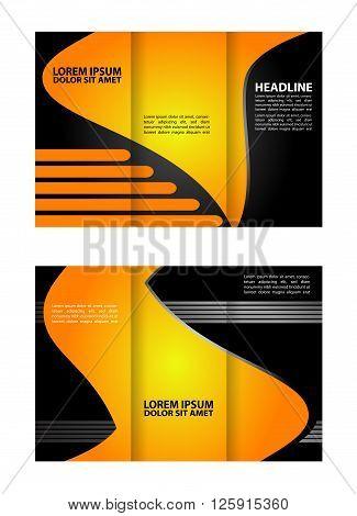 Trifold brochure print template. Brochure folder leaflet abstract element, vector