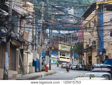 RIO DE JANEIRO BRAZIL - DEC 29 2013: Rocinha is the largest favela in Brazi. About 80000 people live in Rocinha making it the most populous favela in Rio de Janeiro.