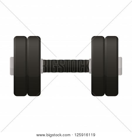 Vector illustration. Dumbbell with a matt black handle isolated on a white background