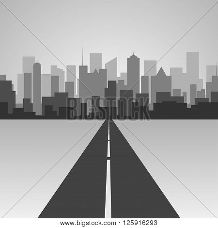 Vector illustration .Highway silhouette in a town. City skyline