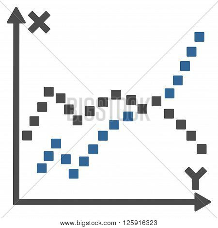 Functions Plot vector toolbar icon. Style is bicolor flat icon symbol, cobalt and gray colors, white background, square dots.