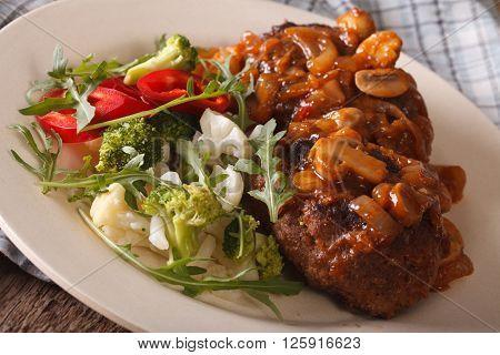 Salisbury Steak With Mushroom Sauce And Vegetables Close-up. Horizontal