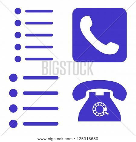 Phone List vector icons. Style is violet flat symbols on a white background.