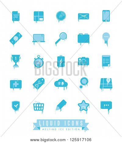 Set of liquid, melting web and business icons with icicles