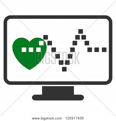 Cardio Monitoring vector toolbar icon. Style is bicolor flat icon symbol, green and gray colors, white background, square dots.