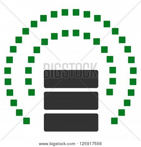 Database Sphere Shield vector toolbar icon. Style is bicolor flat icon symbol, green and gray colors, white background, square dots.