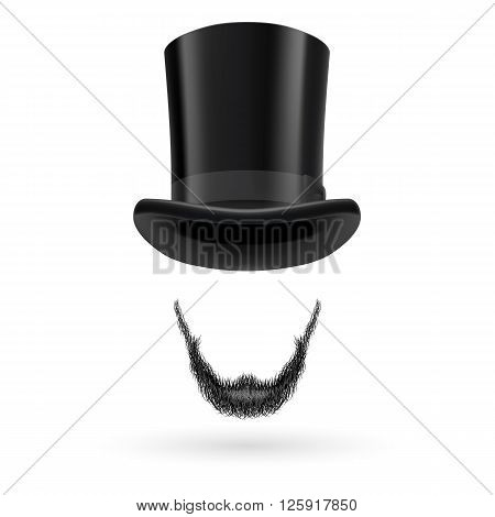 Invisible man with Lincoln beard wearing top hat.