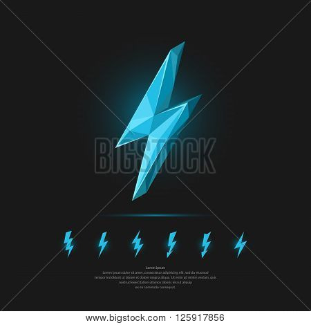 Icy lightning on a dark background and set of icons. Vector illustration in polygonal style.