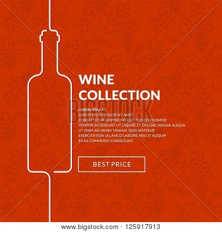 Bright modern poster and background for the sales and promotion of wine. Template for menu and wine list. Vector illustration.