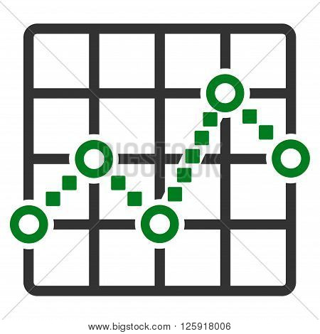 Line Plot vector toolbar icon. Style is bicolor flat icon symbol, green and gray colors, white background, square dots.