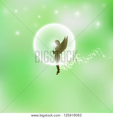 Vector illustration of a forest fairy or elf. Green background. Magic flower. Magic dust.