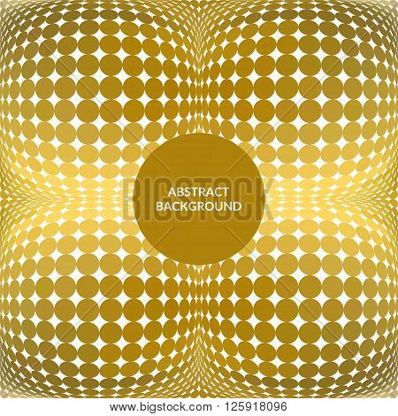 Abstract 3D Sphere. Vector gold mosaic background. Volume bright dotted background in disco style.
