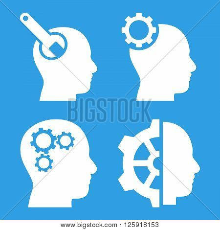 Brain Tools vector icons. Style is white flat symbols on a blue background.