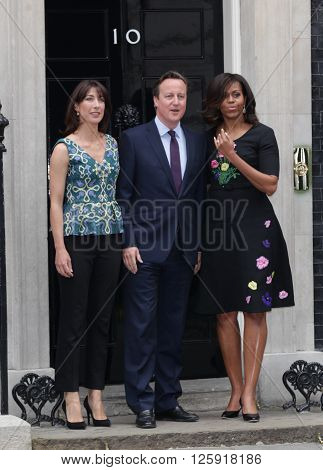 LONDON - JUN 16, 2015: Michelle Obama visit to 10 Downing street and is greeted by David and Samantha Cameron on Jun 16, 2015 in London