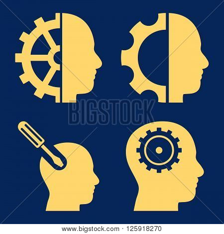 Brain Tools vector icons. Style is yellow flat symbols on a blue background.