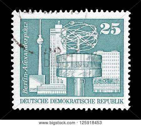 GERMAN DEMOCRATIC REPUBLIC - CIRCA 1973 : Cancelled postage stamp printed by German Democratic Republic, that shows  Alexanderplatz  in Berlin.