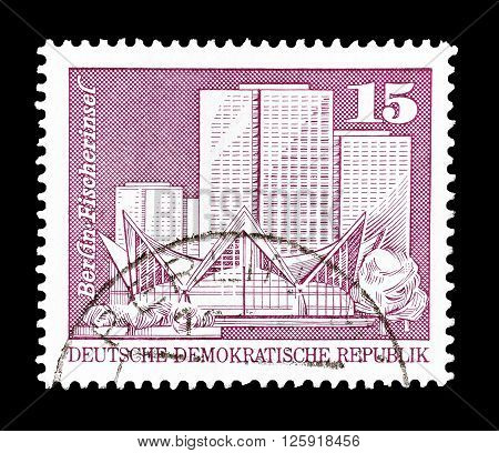 GERMAN DEMOCRATIC REPUBLIC - CIRCA 1973 : Cancelled postage stamp printed by German Democratic Republic, that shows Fisher Island in Berlin.