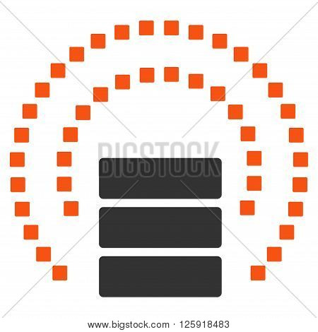 Database Sphere Shield vector toolbar icon. Style is bicolor flat icon symbol, orange and gray colors, white background, square dots.
