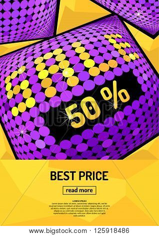 Abstract modern banner best selling. Background with inscription sale. Bright modern illustrations of seasonal sales in the disco style. Discounts on products and spring sales. Poster for showcase