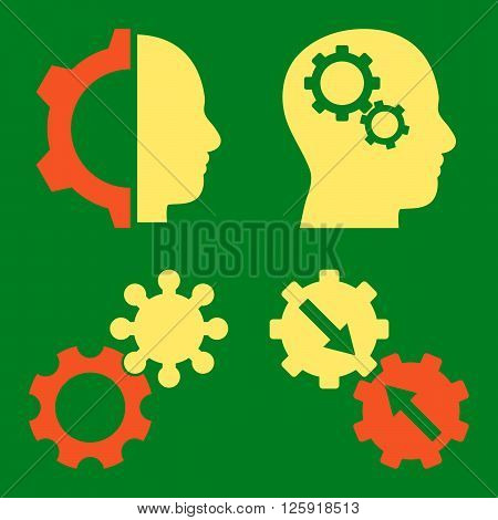 Intellect Gears vector icons. Style is bicolor orange and yellow flat symbols on a green background.
