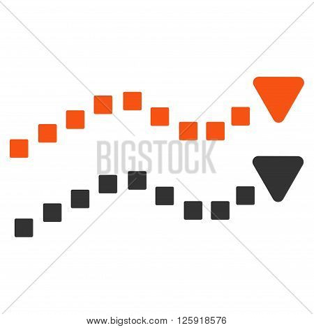 Dotted Trend Lines vector toolbar icon. Style is bicolor flat icon symbol, orange and gray colors, white background, square dots.