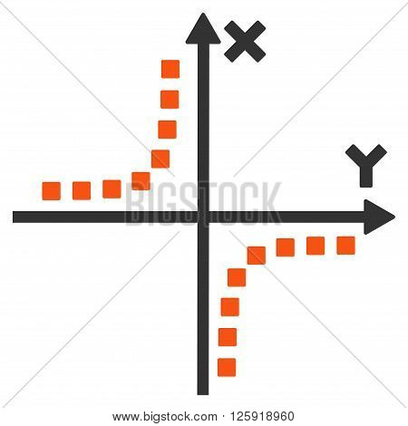 Hyperbola Plot vector toolbar icon. Style is bicolor flat icon symbol, orange and gray colors, white background, square dots.