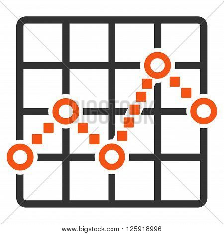 Line Plot vector toolbar icon. Style is bicolor flat icon symbol, orange and gray colors, white background, square dots.